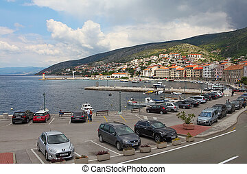Senj, Croatia - 01 June 2014: Panorama of Mediterranean Town...
