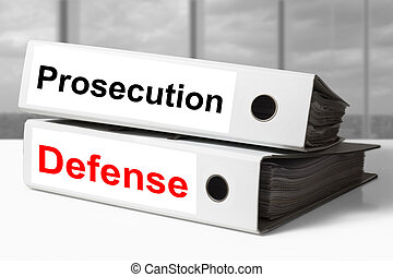 office binders prosecution defense - stack of white office...