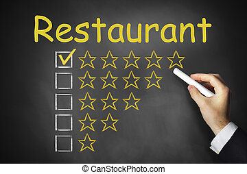 hand writing restaurant on chalkboard ranking - hand writing...