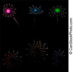 Set colorful fireworks on dark background - Illustration set...