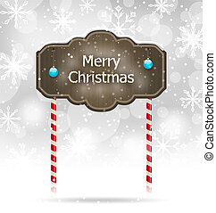 Snow covered wooden sign, Merry Christmas background -...