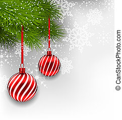 Christmas background with hanging glass balls and fir...