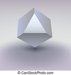 Cube with cropped center, place for text. - Realistic cube...