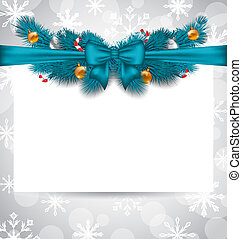 Greeting elegant invitation with Christmas decoration -...