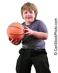 boy, basketball player makes a throw with a ball - Caucasian...
