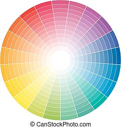Colored circle - Color wheel with the transition to white in...
