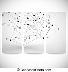 Set of gray backgrounds for communication, molecule structure vector illustration