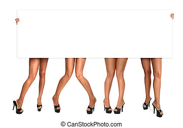Womens Legs Holding up a Blank Sign - Many Womens Legs...