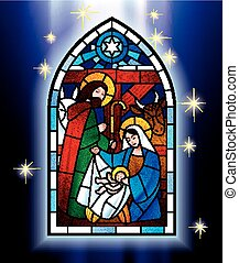 Christmas stained glass window - Vector image of the stained...