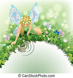 Fairy girl - Vector illustration with a fairy girl with blue...