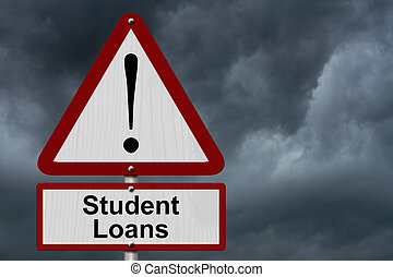 Student Loans Caution Sign, Red and White Triangle Caution...