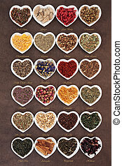 Herbal Tea Selection - Large herb tea selection in heart...