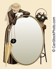 Retro woman with a mirror - Vector vintage image of a...