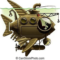 Fish Submarine - Vector isolated image of the complex...