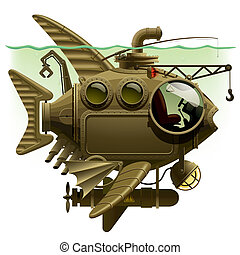 Fish Submarine - Isolated raster version of vector image of...