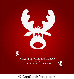 Christmas illustration with funny deer