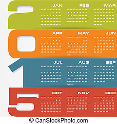 Simple editable vector calendar 2015 vector illustration