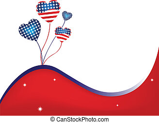 USA Wavy Background - USA Balloons and Stars Background...