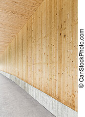 Wood wall walkway modern style