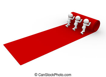 Red carpet - 3d people - man, person rolling out the red...