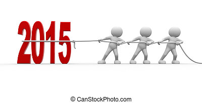 2015 - 3d people - men, person pull rope New Year metaphor...