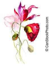 stylisé, fleurs