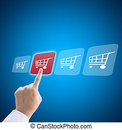 Business man hand working with e-commerce shopping concept