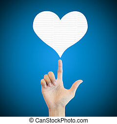 Hand man show heart love paper on blue background