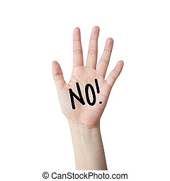 Say no hand isolated on white background