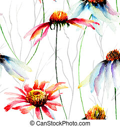 Watercolor illustration with Gerberas flowers, seamless...