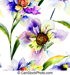 Seamless patterns with Gerber flowers, watercolor...