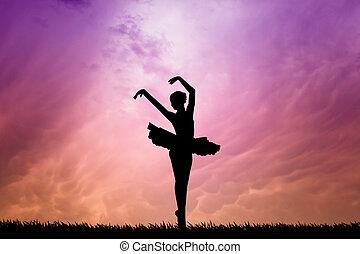 balé, dançarino, pôr do sol