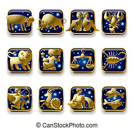 Zodiac signs - Isolated raster version of vector set of dark...