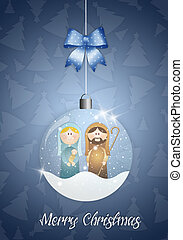 Christmas ball with Nativity scene - illustration of...