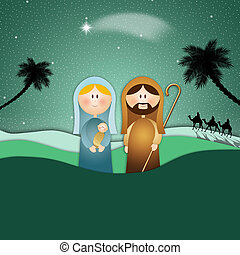 Merry Christmas - illustration of Nativity scene for Merry...