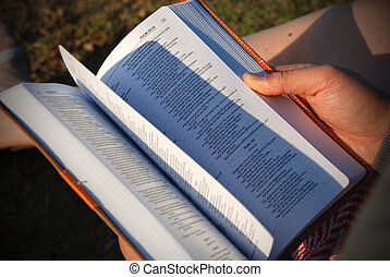 Flipping bible pages - Man sits down flipping pages of bible