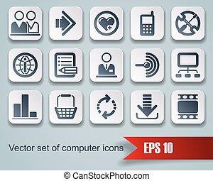 sitio web, y, internet, iconos,