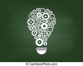 Gears Light Bulb Idea Concept On Green Chalkboard