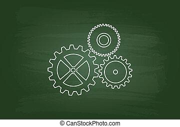 Cog Wheels Mechanism On Green Chalkboard