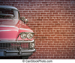 Classic Car Against Red Brick Wall - Classic Vintage 50s...