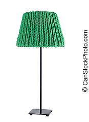 Green floor lamp, isolated on white background.
