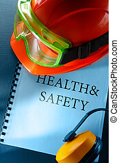 Goggles, earphones and red helmet - Safety goggles,...