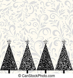 Seamless pattern with Christmas trees - Seamless horizontal...