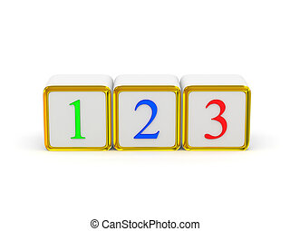 1 2 3 signs. 3d