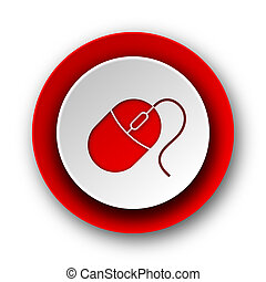 mouse red modern web icon on white background