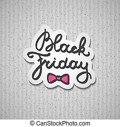 black friday, vector handwritten text on gray cardboard