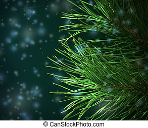 Pine-Tree Branches Decorated - Pine-Tree Branches on the...