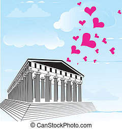 Greece acropolis with heart symbol of valentines day....