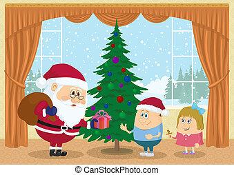 Santa Claus giving presents