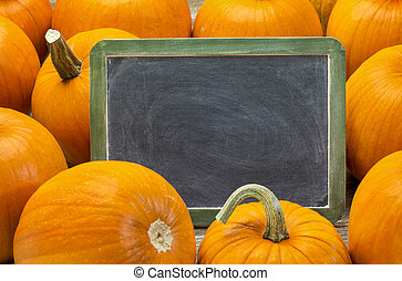 blank blackboard and pumpkin - blank slate blackboard with...